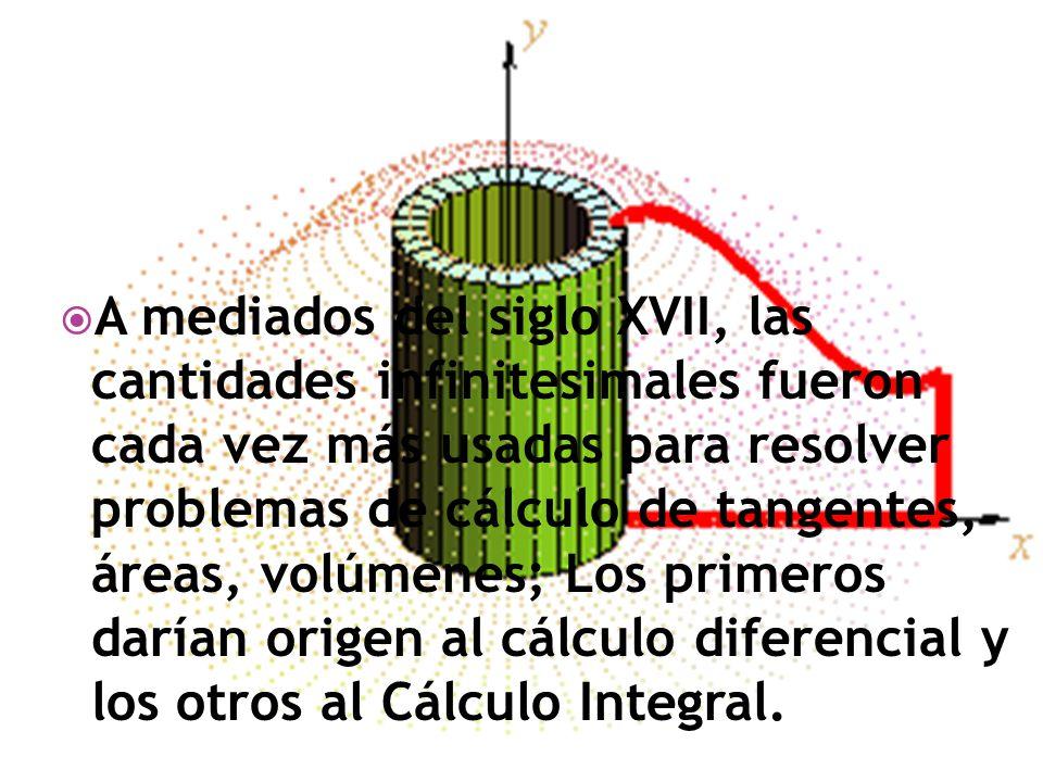 A mediados del siglo XVII, las cantidades infinitesimales fueron cada vez más usadas para resolver problemas de cálculo de tangentes, áreas, volúmenes