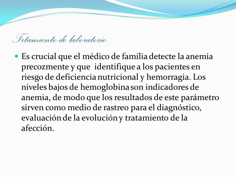 Trtamiento de laboratorio Es crucial que el médico de familia detecte la anemia precozmente y que identifique a los pacientes en riesgo de deficiencia