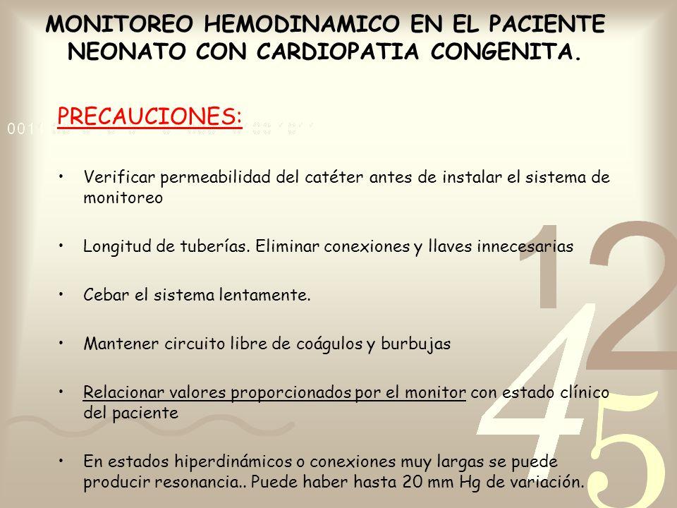 PRECAUCIONES: Verificar permeabilidad del catéter antes de instalar el sistema de monitoreo Longitud de tuberías. Eliminar conexiones y llaves inneces