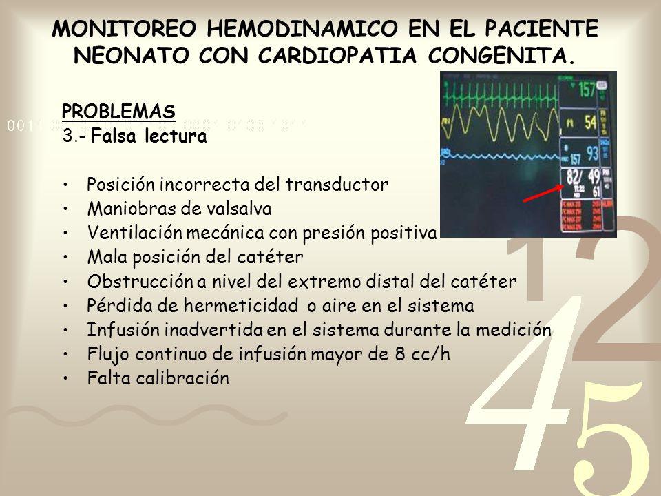 MONITOREO HEMODINAMICO EN EL PACIENTE NEONATO CON CARDIOPATIA CONGENITA. PROBLEMAS 3.- Falsa lectura Posición incorrecta del transductor Maniobras de