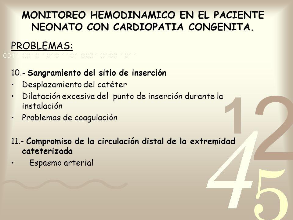MONITOREO HEMODINAMICO EN EL PACIENTE NEONATO CON CARDIOPATIA CONGENITA. PROBLEMAS: 10.- Sangramiento del sitio de inserción Desplazamiento del catéte