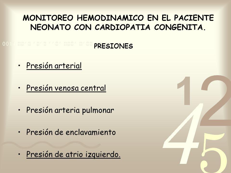 MONITOREO HEMODINAMICO EN EL PACIENTE NEONATO CON CARDIOPATIA CONGENITA. PRESIONES Presión arterial Presión venosa central Presión arteria pulmonar Pr