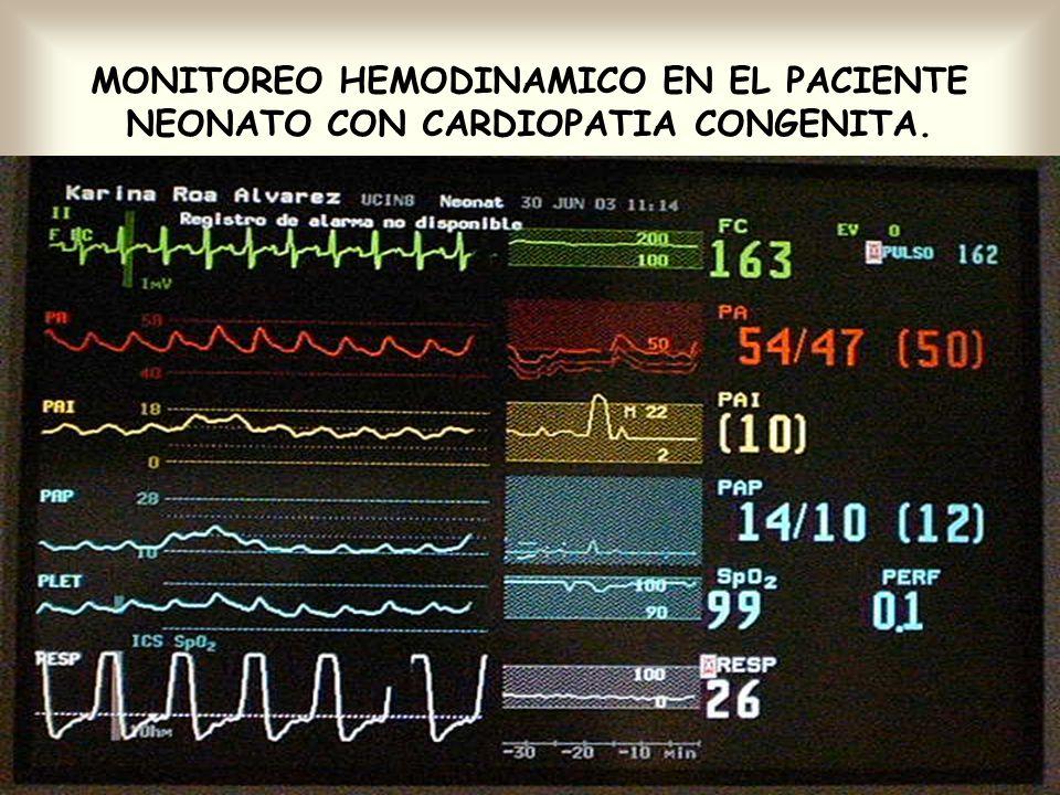 MONITOREO HEMODINAMICO EN EL PACIENTE NEONATO CON CARDIOPATIA CONGENITA.