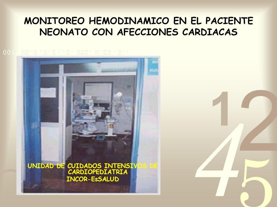 MONITOREO HEMODINAMICO EN EL PACIENTE NEONATO CON AFECCIONES CARDIACAS UNIDAD DE CUIDADOS INTENSIVOS DE CARDIOPEDIATRIA INCOR-EsSALUD