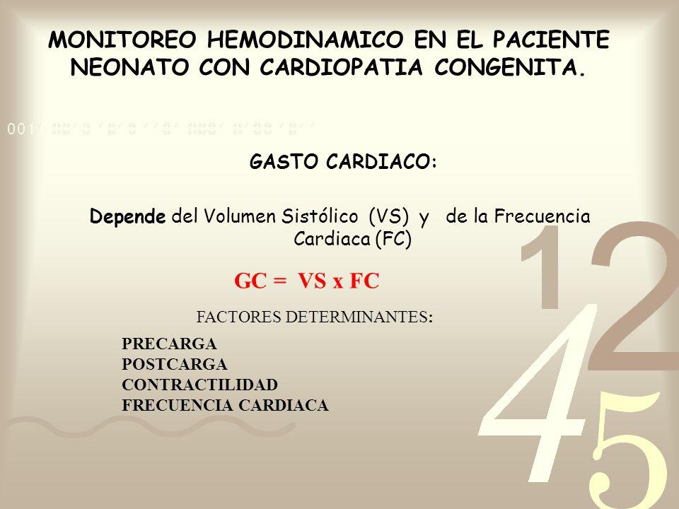 MONITOREO HEMODINAMICO EN EL PACIENTE NEONATO CON CARDIOPATIA CONGENITA. GASTO CARDIACO: Depende del Volumen Sistólico (VS) y de la Frecuencia Cardiac