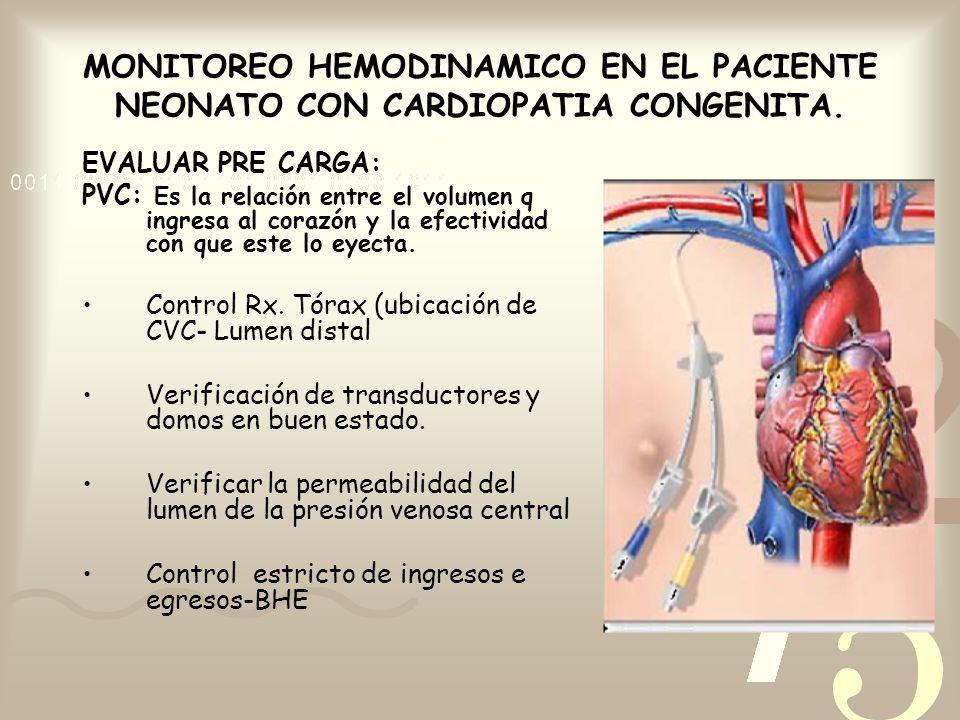 EVALUAR PRE CARGA: PVC: Es la relación entre el volumen q ingresa al corazón y la efectividad con que este lo eyecta. Control Rx. Tórax (ubicación de