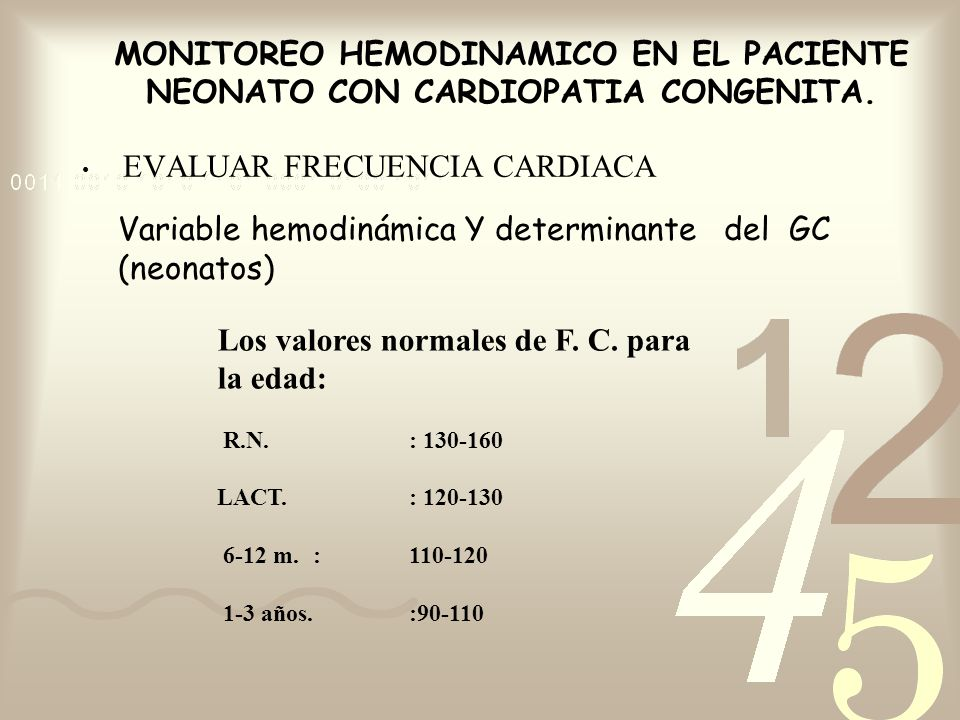 MONITOREO HEMODINAMICO EN EL PACIENTE NEONATO CON CARDIOPATIA CONGENITA. EVALUAR FRECUENCIA CARDIACA Variable hemodinámica Y determinante del GC (neon