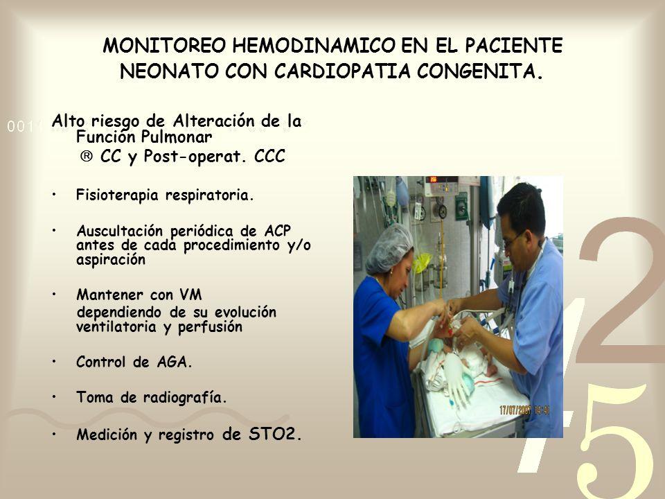 MONITOREO HEMODINAMICO EN EL PACIENTE NEONATO CON CARDIOPATIA CONGENITA. Alto riesgo de Alteración de la Función Pulmonar CC y Post-operat. CCC Fisiot