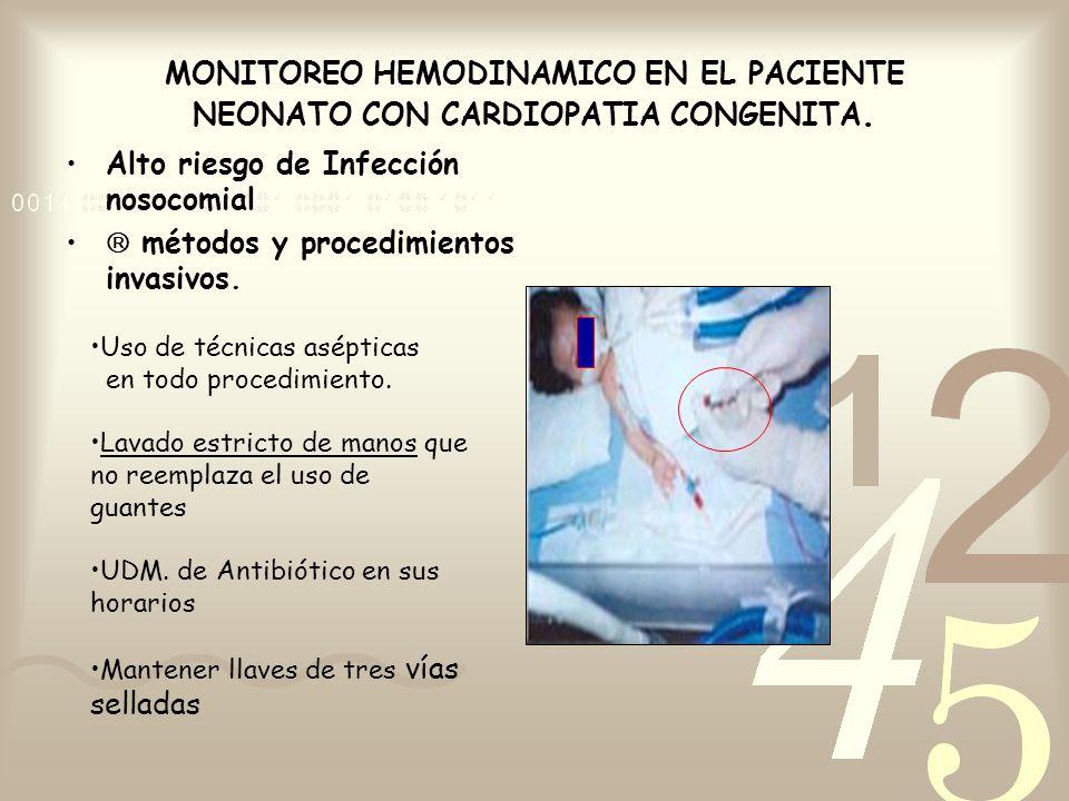 MONITOREO HEMODINAMICO EN EL PACIENTE NEONATO CON CARDIOPATIA CONGENITA. Alto riesgo de Infección nosocomial métodos y procedimientos invasivos. Uso d