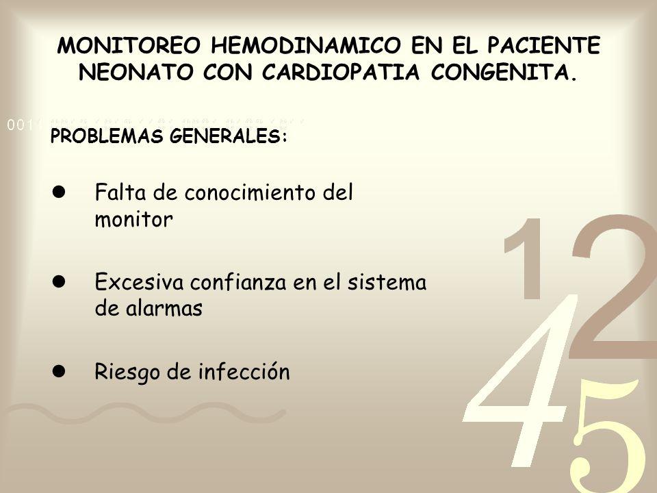MONITOREO HEMODINAMICO EN EL PACIENTE NEONATO CON CARDIOPATIA CONGENITA. PROBLEMAS GENERALES: Falta de conocimiento del monitor Excesiva confianza en