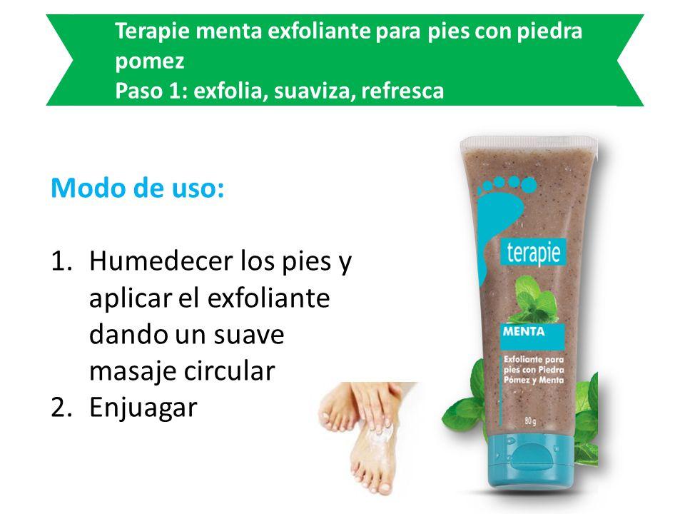 Modo de uso: 1.Humedecer los pies y aplicar el exfoliante dando un suave masaje circular 2.Enjuagar Terapie menta exfoliante para pies con piedra pome