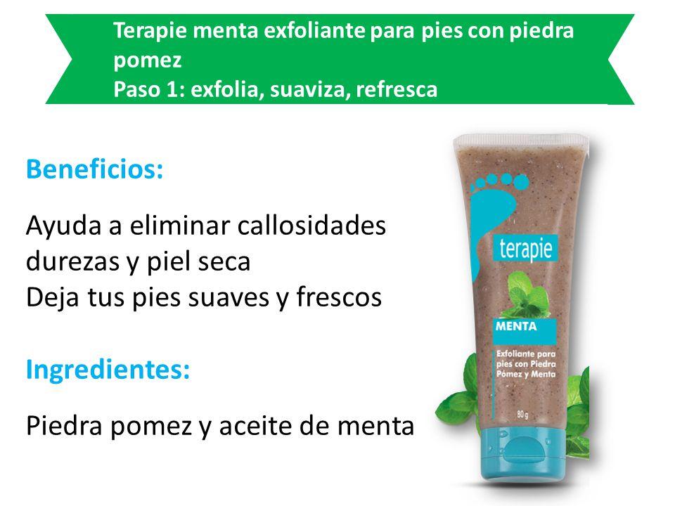 Beneficios: Ayuda a eliminar callosidades durezas y piel seca Deja tus pies suaves y frescos Ingredientes: Piedra pomez y aceite de menta Terapie ment