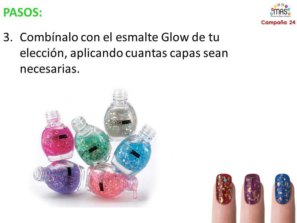 PASOS: 3.Combínalo con el esmalte Glow de tu elección, aplicando cuantas capas sean necesarias.