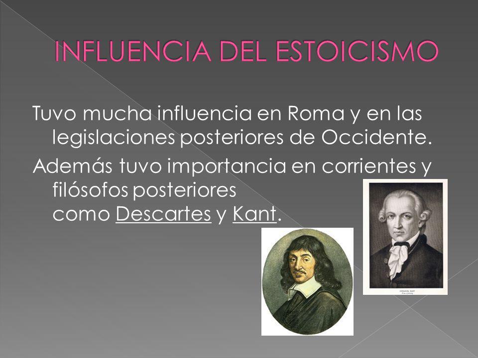 Tuvo mucha influencia en Roma y en las legislaciones posteriores de Occidente. Además tuvo importancia en corrientes y filósofos posteriores como Desc