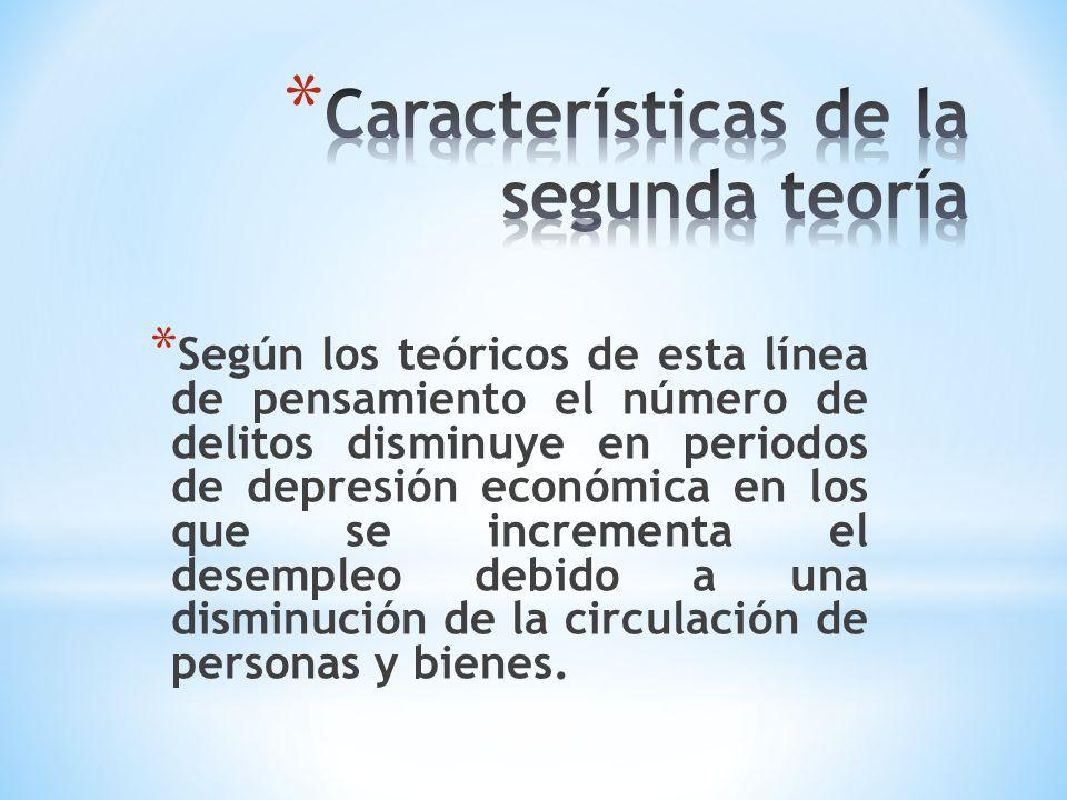* Según los teóricos de esta línea de pensamiento el número de delitos disminuye en periodos de depresión económica en los que se incrementa el desemp