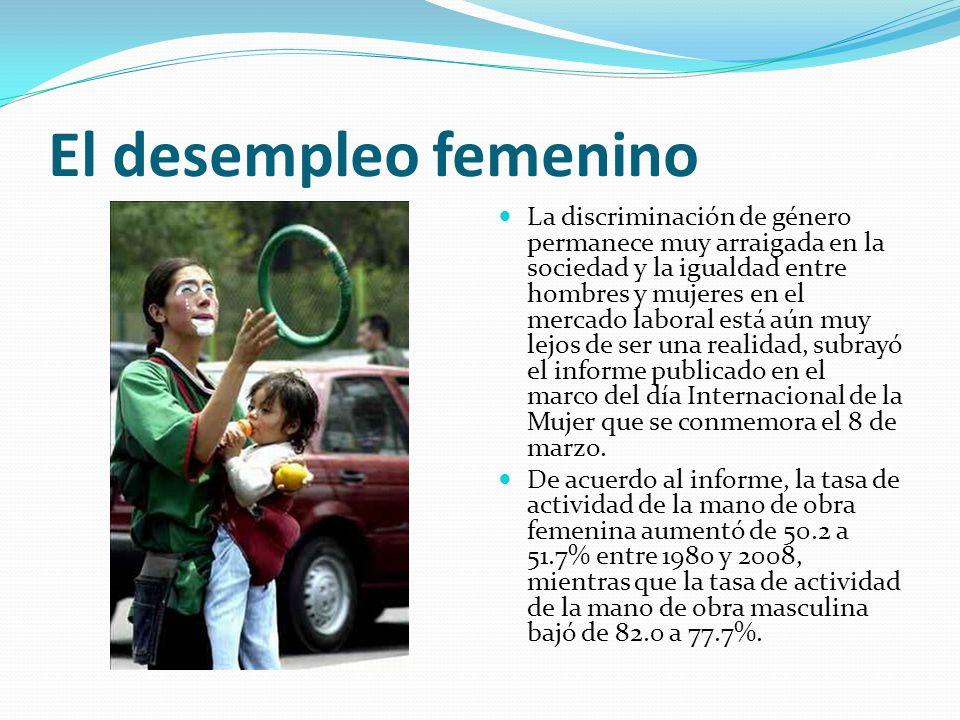 El desempleo femenino La discriminación de género permanece muy arraigada en la sociedad y la igualdad entre hombres y mujeres en el mercado laboral e