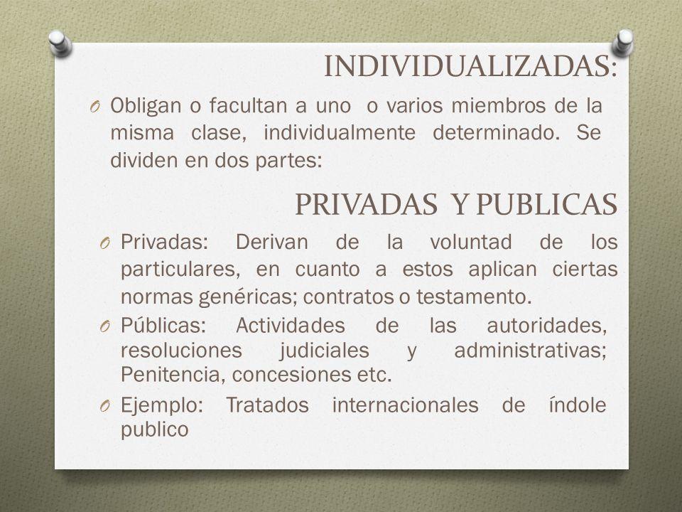 INDIVIDUALIZADAS: O Obligan o facultan a uno o varios miembros de la misma clase, individualmente determinado. Se dividen en dos partes: PRIVADAS Y PU