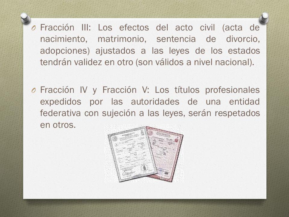 O Fracción III: Los efectos del acto civil (acta de nacimiento, matrimonio, sentencia de divorcio, adopciones) ajustados a las leyes de los estados te