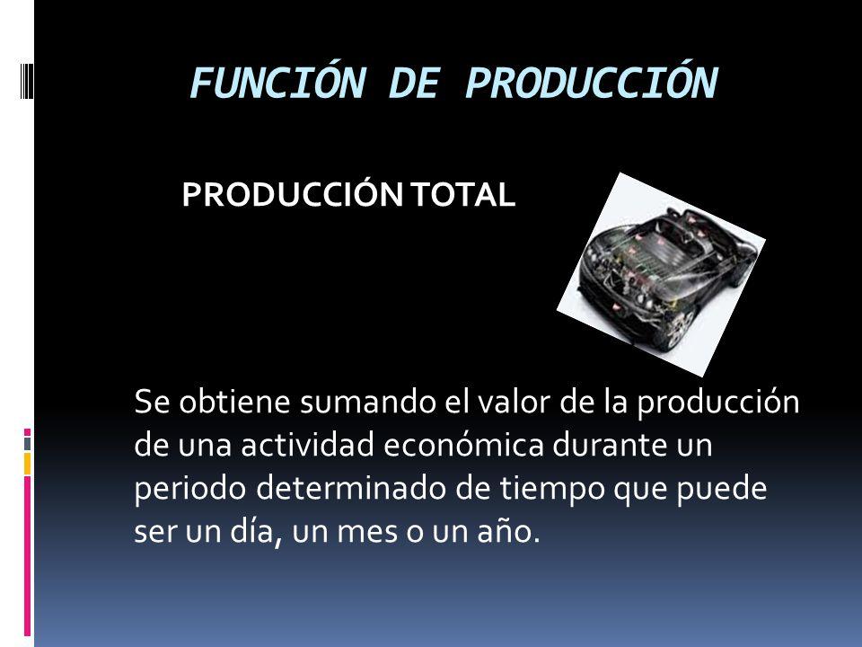 FUNCIÓN DE PRODUCCIÓN PRODUCCIÓN TOTAL Se obtiene sumando el valor de la producción de una actividad económica durante un periodo determinado de tiemp