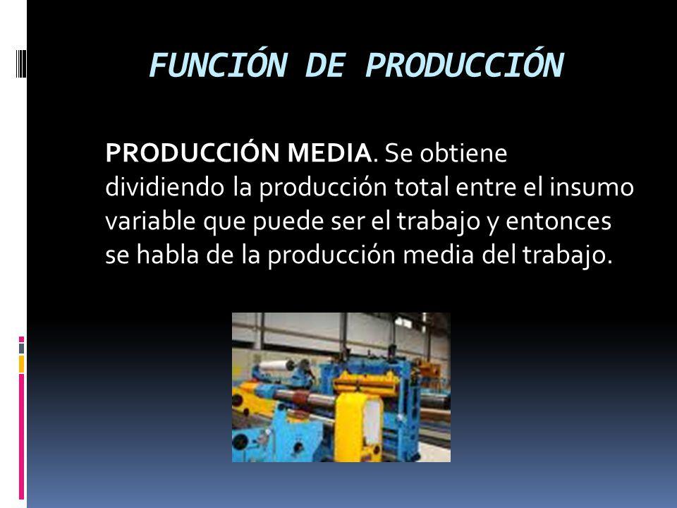 FUNCIÓN DE PRODUCCIÓN PRODUCCIÓN MEDIA. Se obtiene dividiendo la producción total entre el insumo variable que puede ser el trabajo y entonces se habl