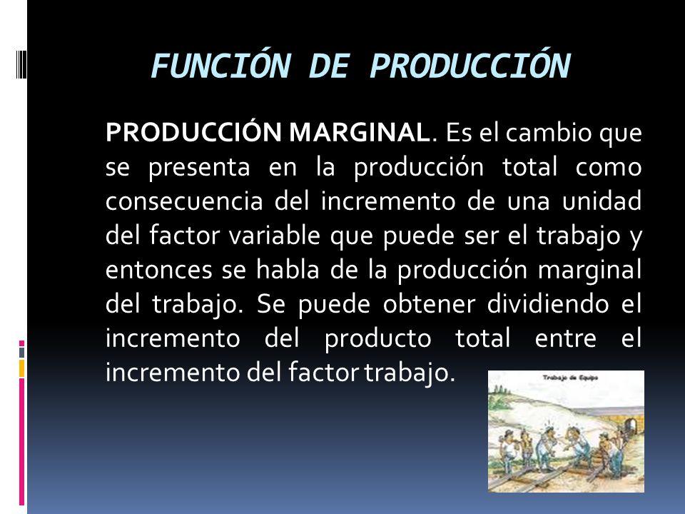 FUNCIÓN DE PRODUCCIÓN PRODUCCIÓN MARGINAL. Es el cambio que se presenta en la producción total como consecuencia del incremento de una unidad del fact