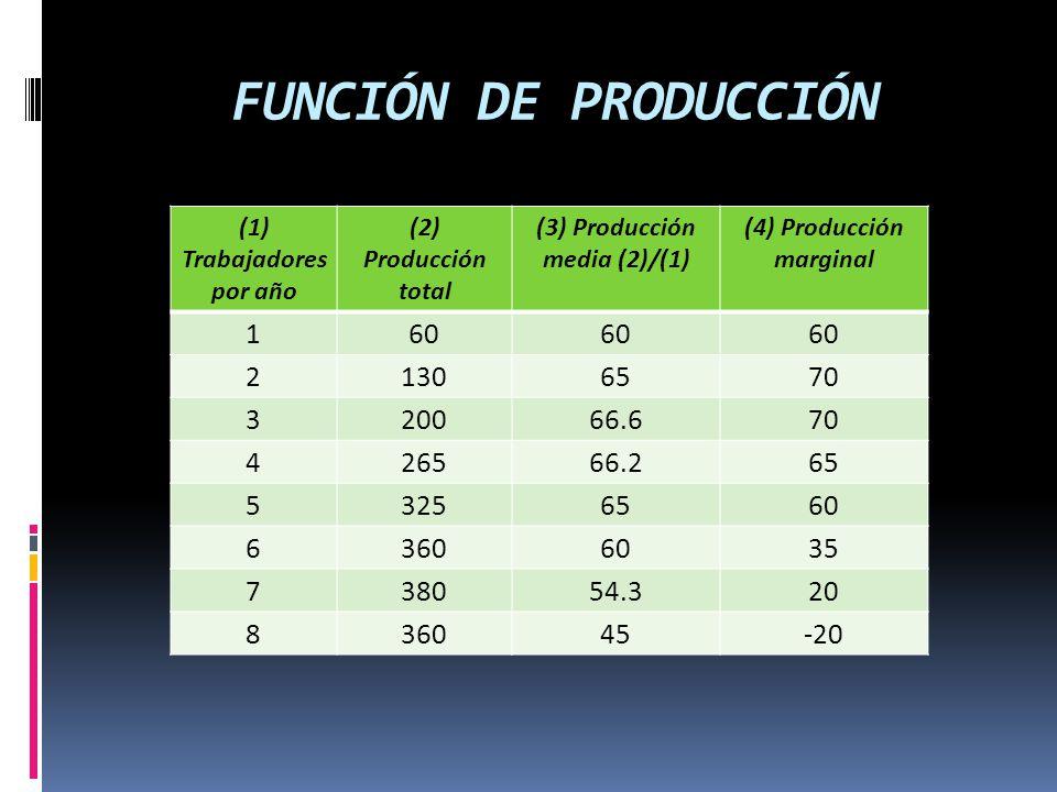 FUNCIÓN DE PRODUCCIÓN (1) Trabajadores por año (2) Producción total (3) Producción media (2)/(1) (4) Producción marginal 160 21306570 320066.670 42656