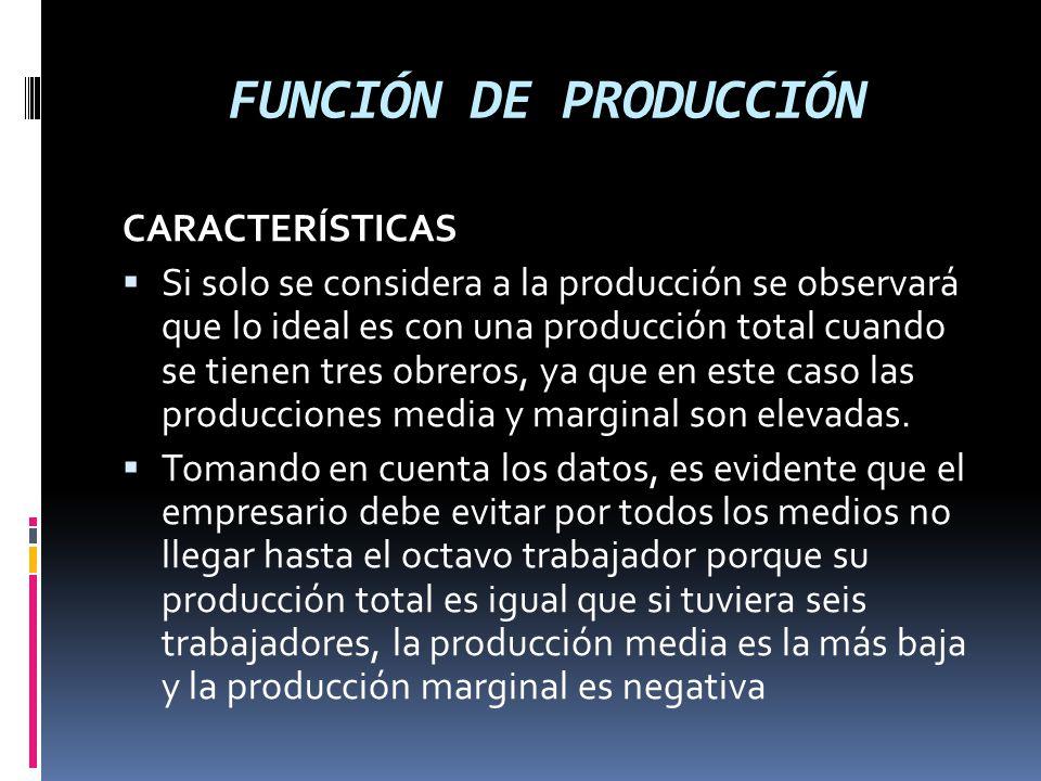 FUNCIÓN DE PRODUCCIÓN CARACTERÍSTICAS Si solo se considera a la producción se observará que lo ideal es con una producción total cuando se tienen tres