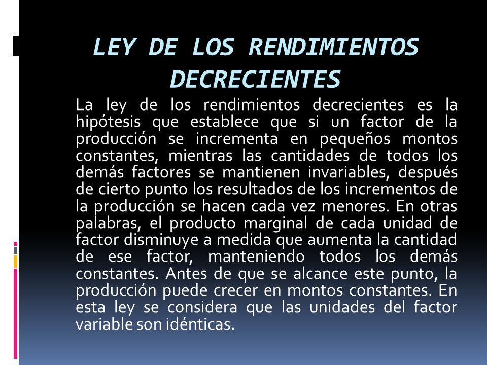 LEY DE LOS RENDIMIENTOS DECRECIENTES La ley de los rendimientos decrecientes es la hipótesis que establece que si un factor de la producción se increm