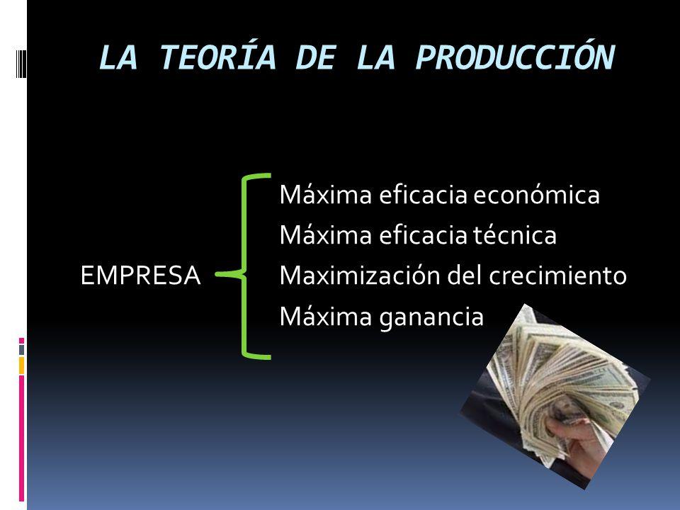 LA TEORÍA DE LA PRODUCCIÓN EMPRESAS PRODUCTORES EFICIENTES USAN MÉTODOS DE PRODUCCIÓN EFICIENTES (minimiza el costo de oportunidad de los factores usados en la producción)