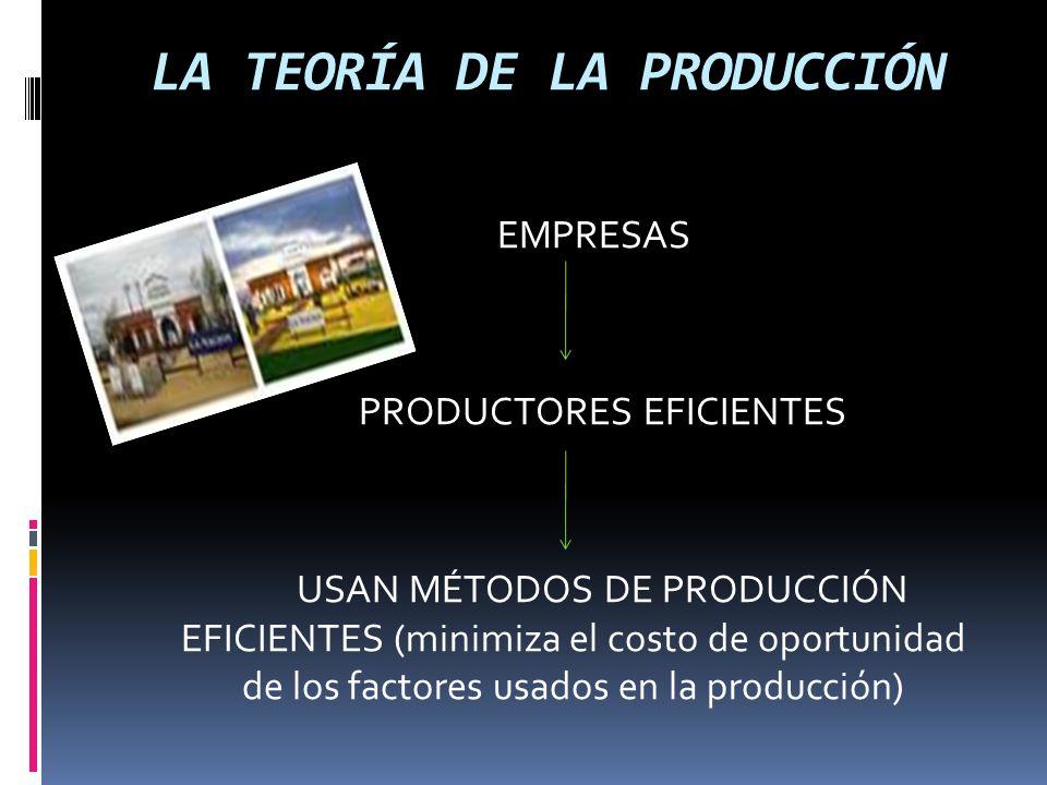 LA TEORÍA DE LA PRODUCCIÓN Trabajo manual Trabajo de innovación Trabajo de dirección Trabajo de invención INSUMOSTransporte Riesgos de trabajo Materias primas Dirección Capital fijo Capital de préstamo