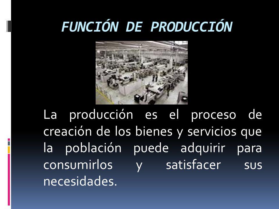 FUNCIÓN DE PRODUCCIÓN La producción es el proceso de creación de los bienes y servicios que la población puede adquirir para consumirlos y satisfacer