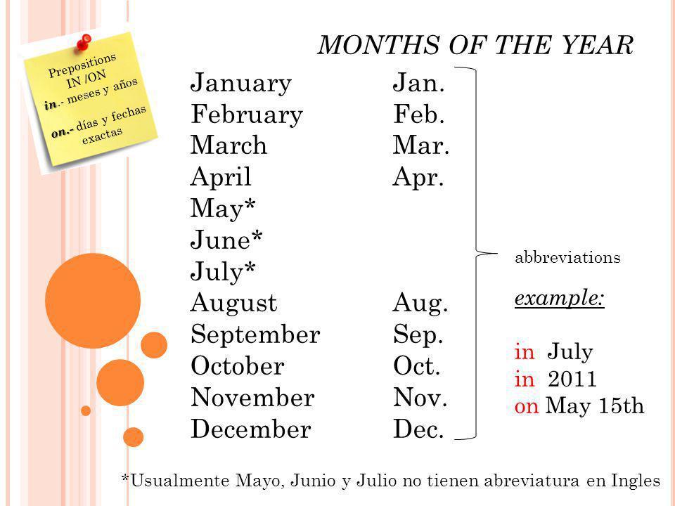 MONTHS OF THE YEAR JanuaryJan. February Feb. MarchMar. AprilApr. May* June* July* AugustAug. SeptemberSep. OctoberOct. NovemberNov. DecemberDec. abbre