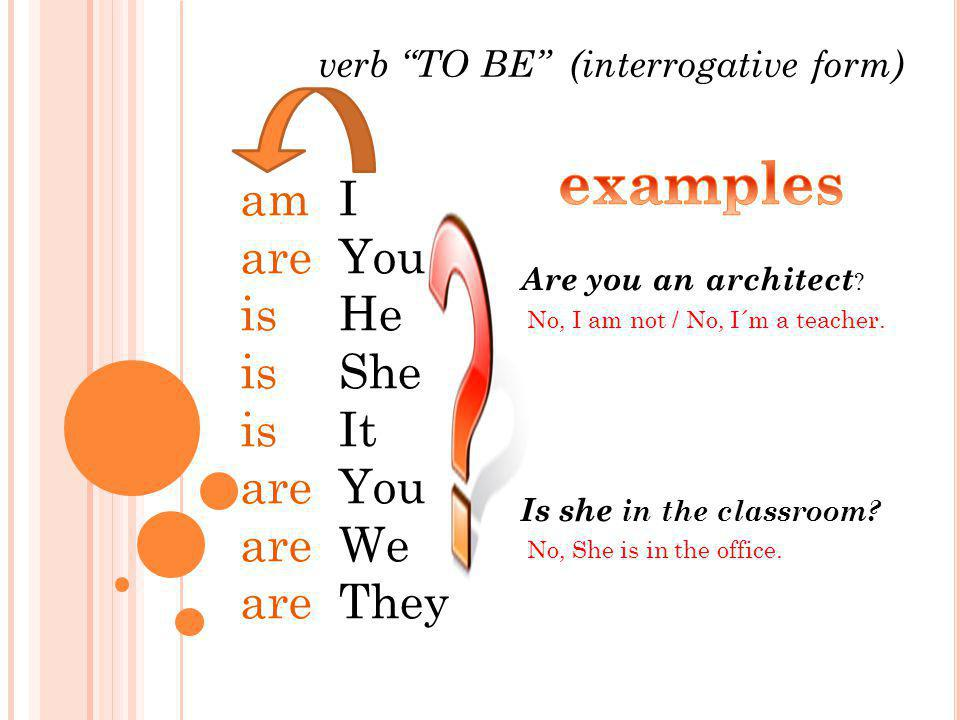 verb TO BE (interrogative form) am are is are I You He She It You We They Are you an architect .