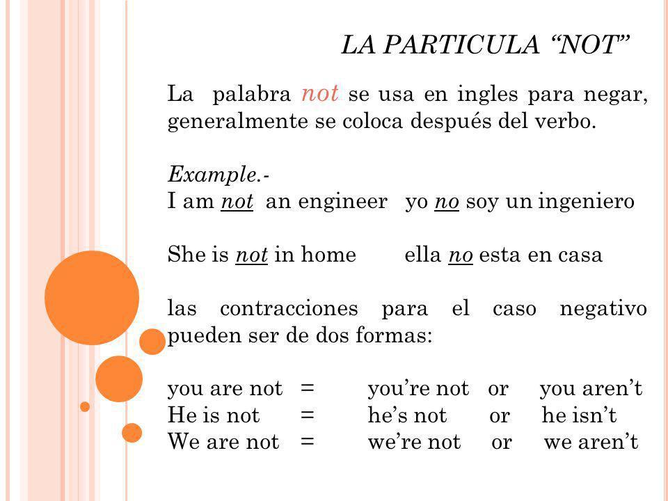 LA PARTICULA NOT La palabra not se usa en ingles para negar, generalmente se coloca después del verbo. Example.- I am not an engineer yo no soy un ing