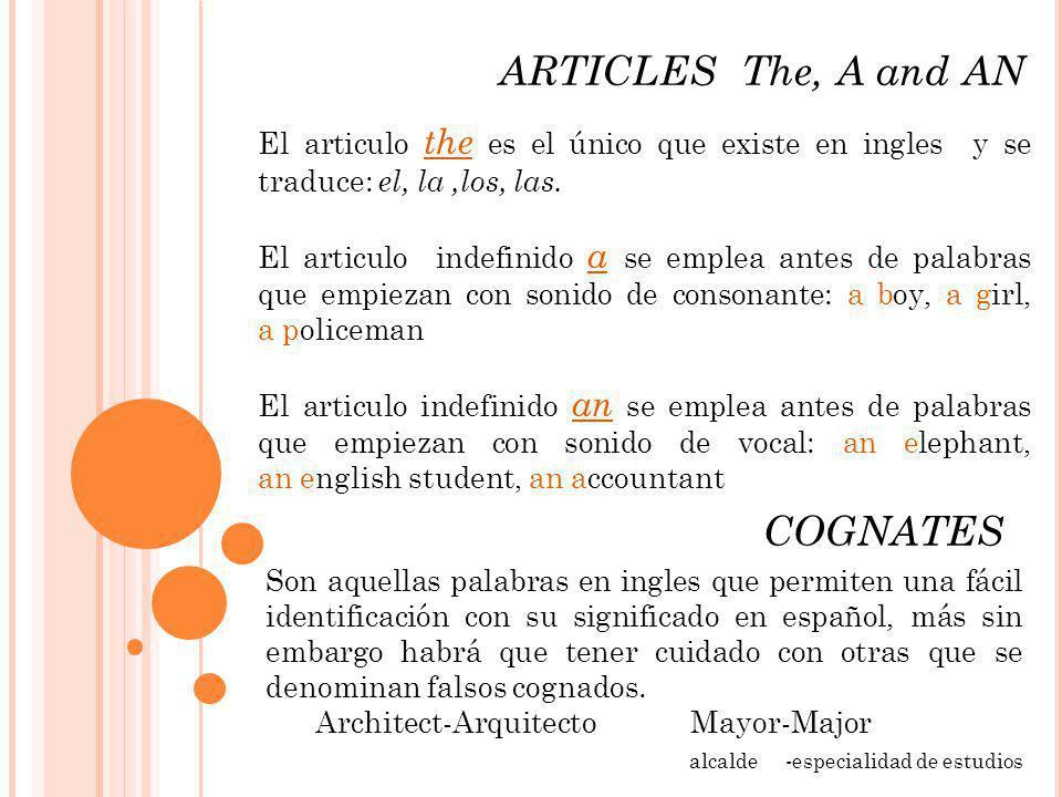 ARTICLES The, A and AN COGNATES El articulo the es el único que existe en ingles y se traduce: el, la,los, las. El articulo indefinido a se emplea ant