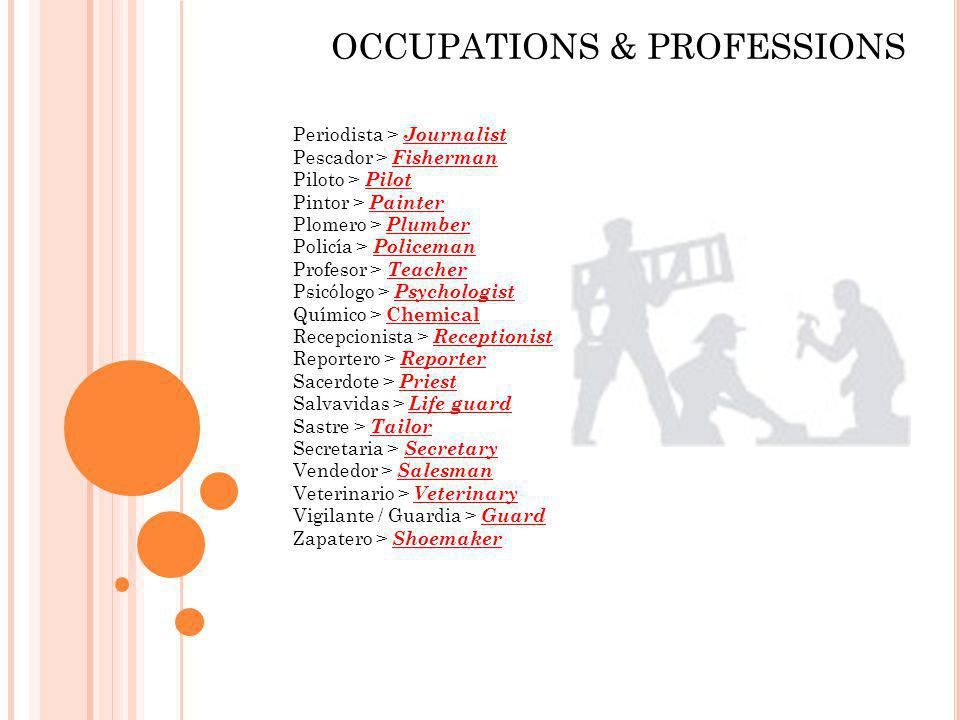 Periodista > Journalist Pescador > Fisherman Piloto > Pilot Pintor > Painter Plomero > Plumber Policía > Policeman Profesor > Teacher Psicólogo > Psyc