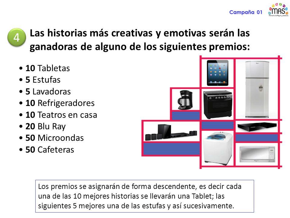 Las historias más creativas y emotivas serán las ganadoras de alguno de los siguientes premios: 4 4 10 Tabletas 5 Estufas 5 Lavadoras 10 Refrigeradore