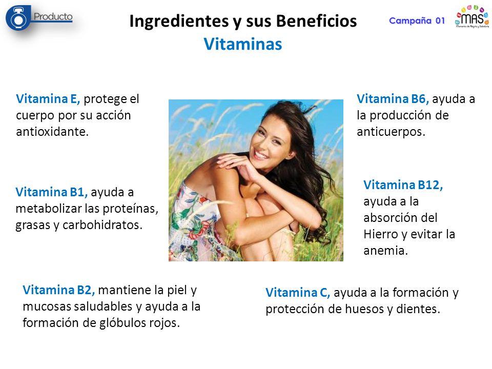 Campaña 01 Ingredientes y sus Beneficios Vitaminas Vitamina E, protege el cuerpo por su acción antioxidante. Vitamina B1, ayuda a metabolizar las prot