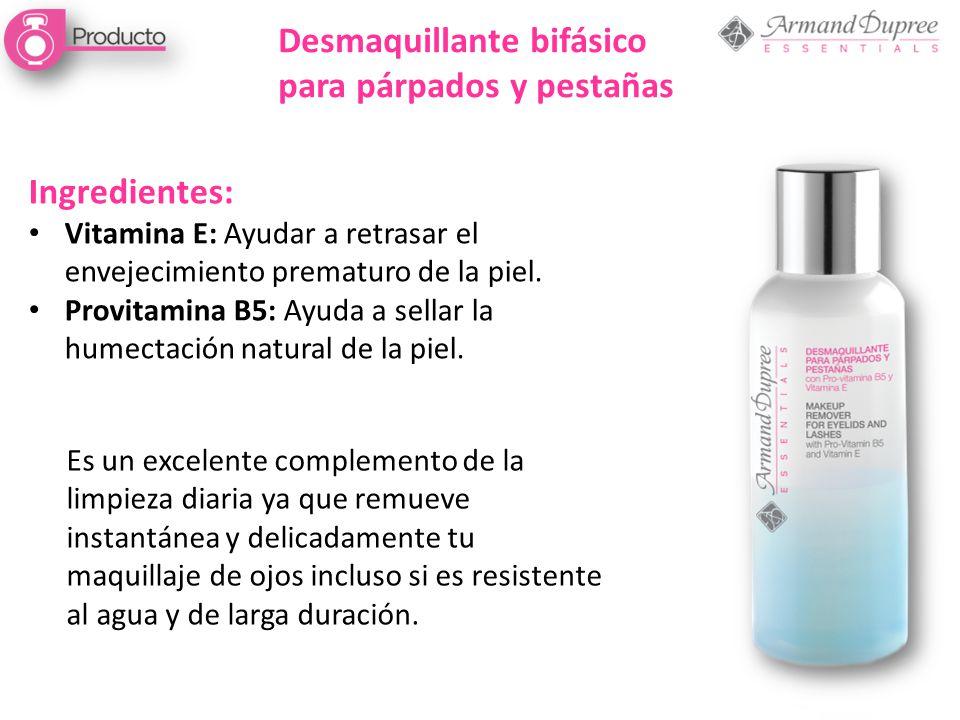 Desmaquillante bifásico para párpados y pestañas Ingredientes: Vitamina E: Ayudar a retrasar el envejecimiento prematuro de la piel. Provitamina B5: A