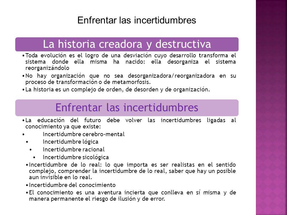 Enfrentar las incertidumbres La historia creadora y destructiva Toda evolución es el logro de una desviación cuyo desarrollo transforma el sistema don