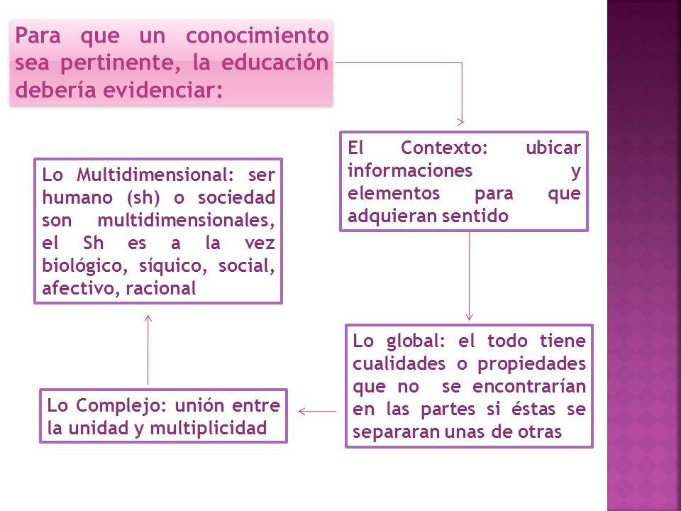 Para que un conocimiento sea pertinente, la educación debería evidenciar: El Contexto: ubicar informaciones y elementos para que adquieran sentido Lo