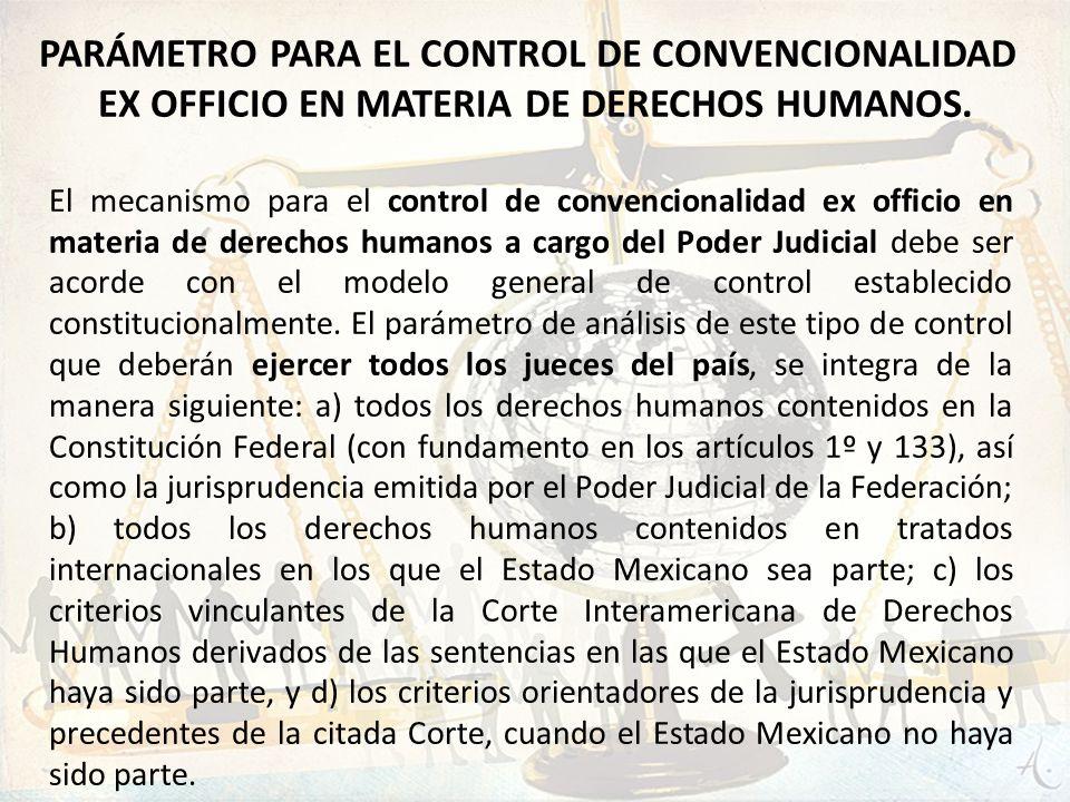 El mecanismo para el control de convencionalidad ex officio en materia de derechos humanos a cargo del Poder Judicial debe ser acorde con el modelo ge
