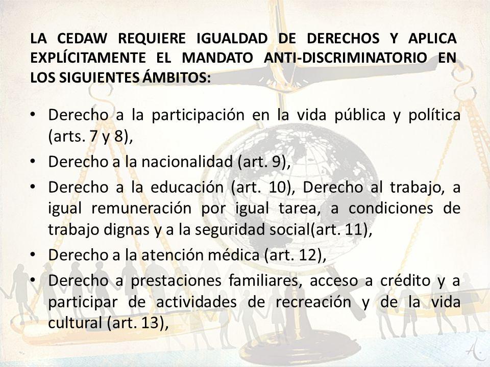 Derecho a la participación en la vida pública y política (arts. 7 y 8), Derecho a la nacionalidad (art. 9), Derecho a la educación (art. 10), Derecho