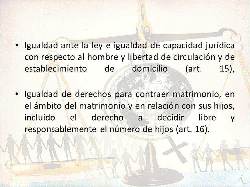 Igualdad ante la ley e igualdad de capacidad jurídica con respecto al hombre y libertad de circulación y de establecimiento de domicilio (art. 15), Ig