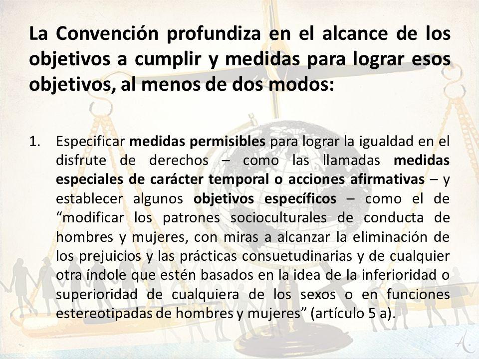 La Convención profundiza en el alcance de los objetivos a cumplir y medidas para lograr esos objetivos, al menos de dos modos: 1.Especificar medidas p