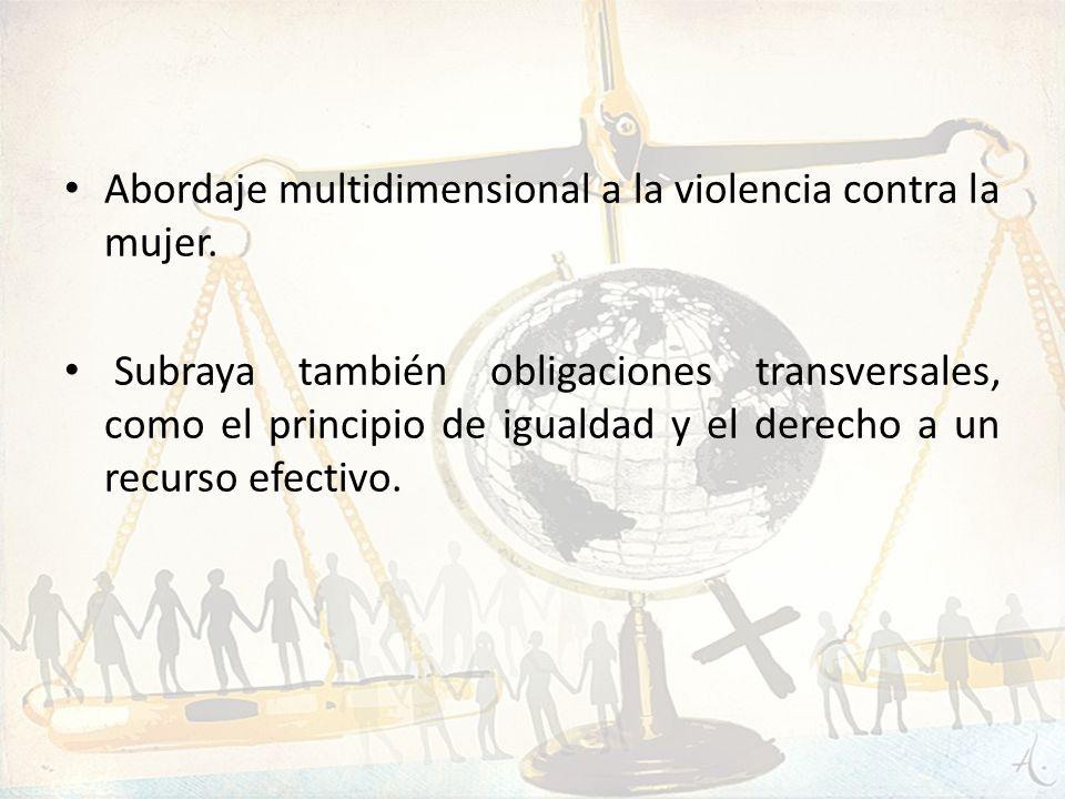 Abordaje multidimensional a la violencia contra la mujer. Subraya también obligaciones transversales, como el principio de igualdad y el derecho a un