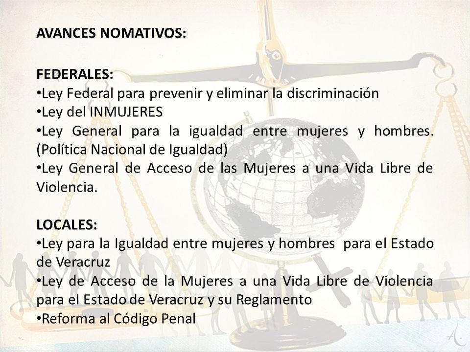 AVANCES NOMATIVOS: FEDERALES: Ley Federal para prevenir y eliminar la discriminación Ley del INMUJERES Ley General para la igualdad entre mujeres y ho