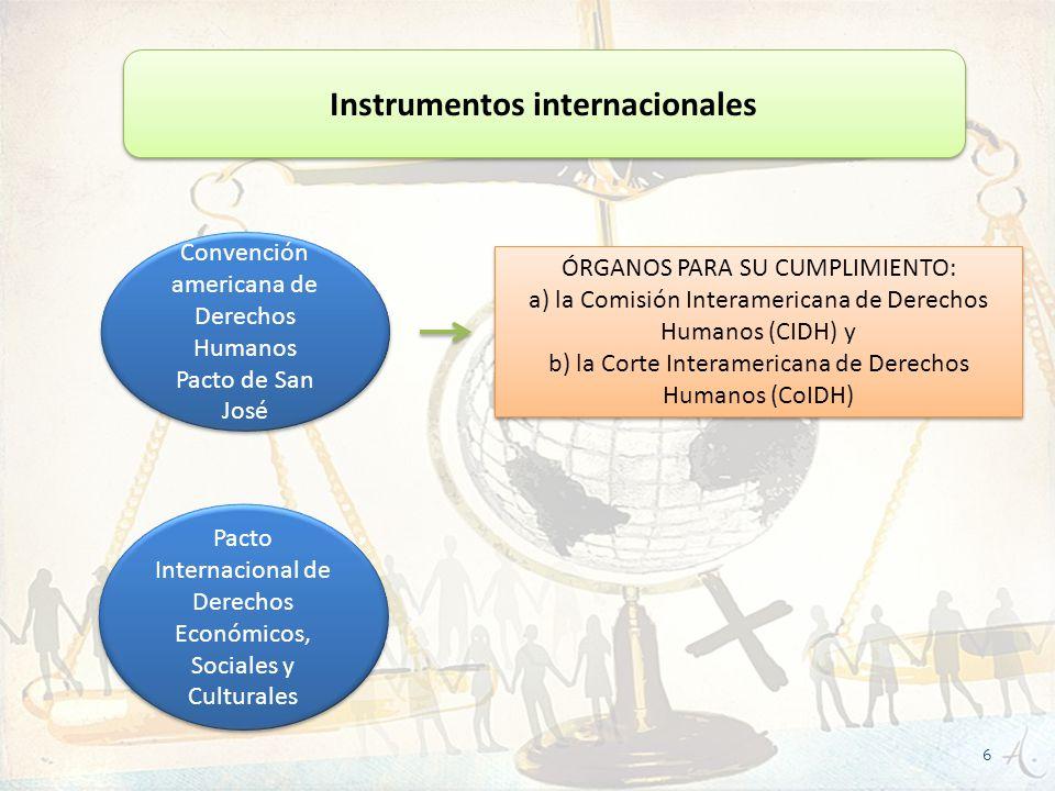 Instrumentos internacionales Convención americana de Derechos Humanos Pacto de San José Convención americana de Derechos Humanos Pacto de San José Pac