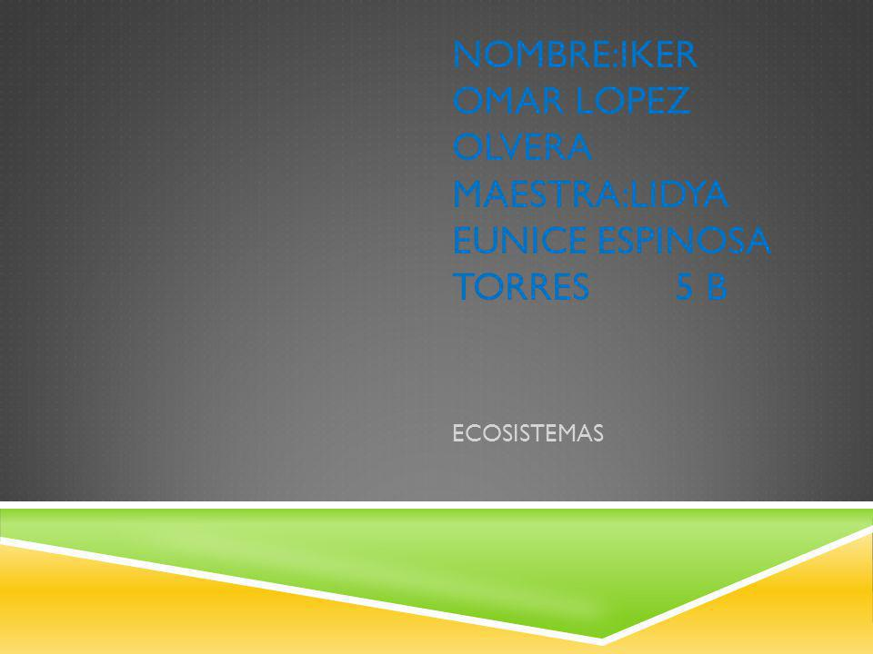 NOMBRE:IKER OMAR LOPEZ OLVERA MAESTRA:LIDYA EUNICE ESPINOSA TORRES 5 B ECOSISTEMAS