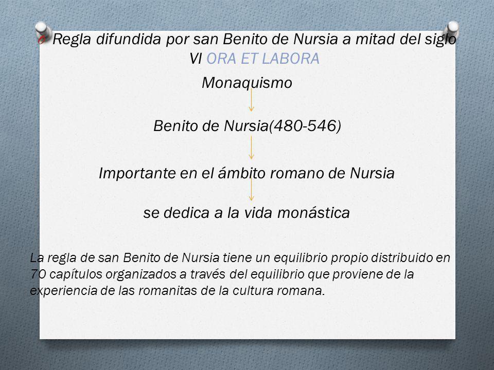 O Regla difundida por san Benito de Nursia a mitad del siglo VI ORA ET LABORA Monaquismo Benito de Nursia(480-546) Importante en el ámbito romano de N
